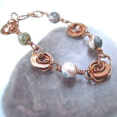 Gorgeous bracelet! Beaded Chain Bracelet Earthy Agate by RoughMagicCreations on Etsy
