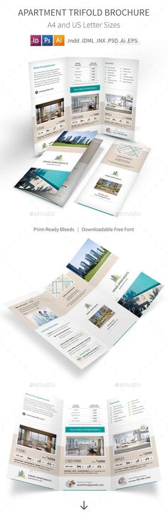 Apartment Real Estate Trifold Brochure — Photoshop PSD #penthouse #condo • Available here → https://graphicriver.net/item/apartment-real-estate-trifold-brochure/9741042?ref=pxcr
