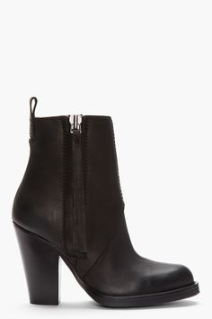 ACNE STUDIOS | Matte Black Zip Up Colt Ankle Boots, $580