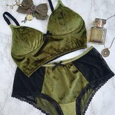 Olive green crushed velvet soft bra and panties. Soft Bra, Crushed Velvet, Olive Green, Bikinis, Swimwear, Lingerie, Clothes, Instagram, Fashion