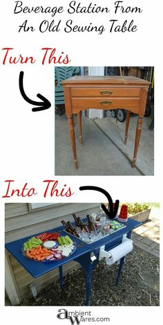 repurposed furniture DIY ~ Upcycled Repurposed Sewing Table To Drink Station ~ Ambient Wares Old Furniture, Refurbished Furniture, Repurposed Furniture, Furniture Projects, Furniture Makeover, Painted Furniture, Furniture Stores, Furniture Online, Kitchen Furniture