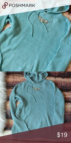 << Hooded Tiffany Blue Knit Sweater >> Super cute!! Wear with leggings or jeans!! Hooded for a classic casual look, but still looking cute 👍🏻👌🏻😜 fits loose Boutique Tops Sweatshirts & Hoodies