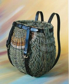 Willow Picnic Backpack - Rib-style Jo Campbell-Amsler at the 2013 Stowe Basketry Festival Willow Weaving, Basket Weaving, Hand Weaving, Picnic Backpack, Backpack Straps, Leather Backpack, Sisal, Basket Bag, Paper Basket