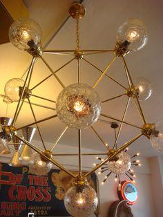 SPUTNIK LIGHT FIXTURE CHANDELIER LAMP POLISHED BRASS GEODOME ICOSAHEDRON LUX MOD