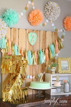 Simply Ciani: Peach, Mint Gold Farm Fresh Birthday Party Like the ball streamer. Girl 2nd Birthday, First Birthday Parties, Birthday Party Themes, First Birthdays, Birthday Ideas, Peach Party, Gold Party, Mint Gold, Metallic Gold