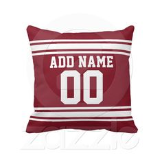 Shop Football Team Jersey with Custom Name Number Throw Pillow created by MyRazzleDazzle. Custom Pillows, Decorative Pillows, Accent Pillows, Throw Pillows, Football Team, Burgundy, Names, Fabric, Room