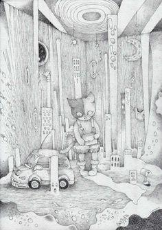 室内風景画「これっぽっちの世界」[はっと] | ART-Meter