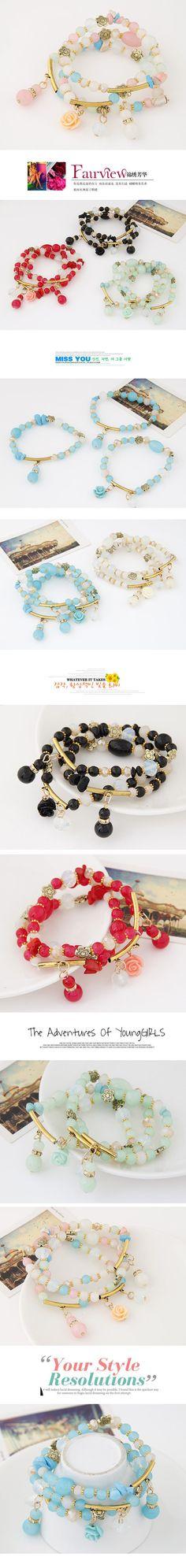 Wholesale Occident fashion easy match trendy flower tear drop multi-layer bracelet ( colorful )   Callesetas