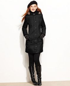 London Fog Petite Coat, Faux-Fur-Trim Hooded Puffer - Womens Petite Coats - Macy's