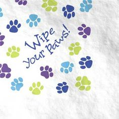 """He can leave paw prints on your heart, but no where else! Each package of paper lunch napkins includes 16 Party Pups napkins measuring 6 x 6 Party Pups lunch napkins feature paw prints with a """"Wipe your Paws! Paper Dinner Napkins, Party Napkins, Napkins Set, Puppy Party Supplies, Discount Party Supplies, Dog Themed Parties, Puppy Birthday Parties, Birthday Ideas, Dog Birthday"""