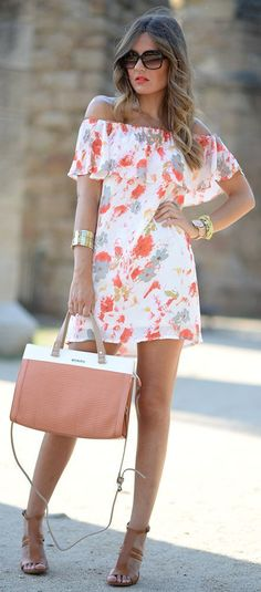 Street Style - White Floral Bare Shoulders Little Dress