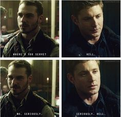 """Where'd you serve?"" ""Hell"" ""No, seriously"" ""Seriously. Hell"" :gif: #Supernatural #GoodGodYall #Dean"