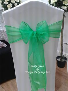 Kelly Green Organza Sashes - Ideals for Weddings and Parties