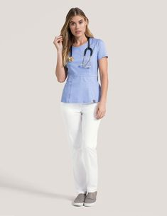Peplum Top in Marble is a contemporary addition to women's medical scrub outfits. Shop Jaanuu for scrubs, lab coats and other medical apparel. Dental Uniforms, Lab Coats For Men, Stylish Scrubs, Scrubs Outfit, Cute Scrubs, Classic Suit, Medical Scrubs, Office Outfits, Peplum