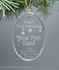 Babys First Christmas ornament personalized with name, time, birth weight and length. Features adorable hanging snowflakes. Laser engraved