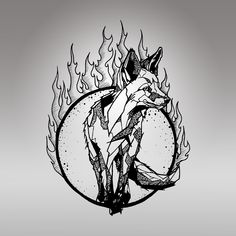 "The new ""Ember"" design from Glasmates Sketch Work Tattoo, Tattoo Sketches, Tattoo Drawings, Wolf Tattoos, Nature Tattoos, Fox Tattoo Design, Tattoo Designs, Geometric Wolf Tattoo, Fuchs Tattoo"