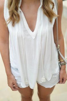 Southern Style / summer style / lace up sandals / distressed denim shorts / white top