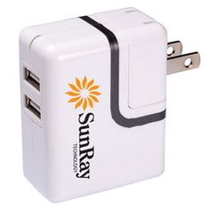 Dual USB Port AC Mobile Charger that plugs into any standard wall outlet.  Plug prongs swivel back into the unit for storage. Charges any two small media or mobile devices simultaneously via USB ports.