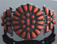 Zuni Bracelet - Native American Sterling Silver and Coral
