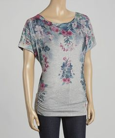 Another great find on #zulily! Gray & Pink Floral Ruched Tunic by Casa Lee #zulilyfinds