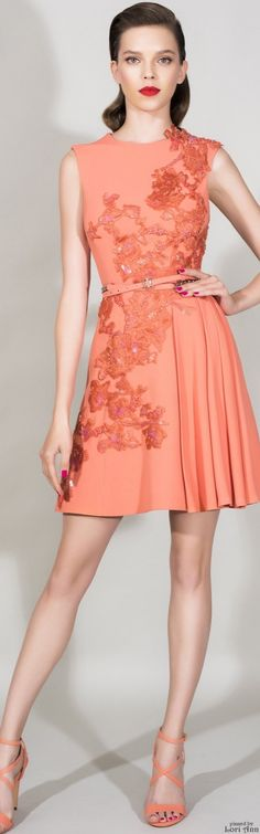Zuhair Murad Resort 2016 coral dress women fashion outfit clothing style apparel @roressclothes closet ideas