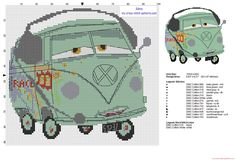 Fillmore Wolkswagen microbus Disney Cars cross stitch pattern