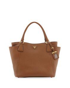 Daino Side-Pocket Tote Bag, Medium Brown by Prada at Bergdorf Goodman.