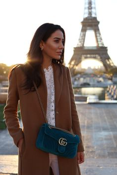 Coat: tumblr camel camel bag teal blue gucci gucci bag chain bag top white lace top lace top white
