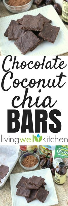 Chocolate Coconut Chia Bars from @memeinge are no sugar added, no bake snack bars that are great for a snack or dessert and are lunch box approved. Tasty treat recipe that is gluten free, dairy free, vegan recipe