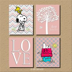 ♥Baby Girl gift Prints Boys gifts SNOOPY WOODSTOCK Girl Bedroom Wall Art Girl Nursery Wall Art Girl personalized quote 4 print set or Canvas, personalize it with Boys colors or customize it with your own colors little girls letter quotes or name (convo me)  ♥Includes 4 unframed prints or canvas, please chose the different sizes on the right (click on the arrow)  *FRAMES ARE NOT INCLUDED*  ♥PRINT OPTION Kodak Endura UltraChrome Hi-Gloss ink on professional premium satin-gloss luster 68 lb…