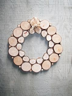 Holiday Wreath Natural Organic Wood wall sculpture Christmas wreath Wood slices Tree slice Rustic decor Holiday decor