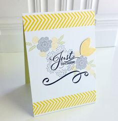 sweet hand-crafted card ... gray, yellow and hwit ... stamped flowers ... lookslike washi tape chevrons at top and bottom borders ... great card!