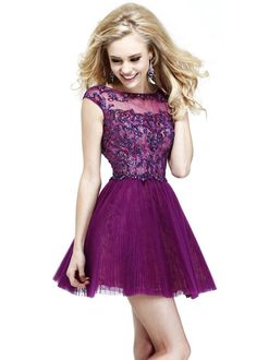 A Line Plum Nude Beaded Tulle Lace Prom Dress By Sherri Hill 21032