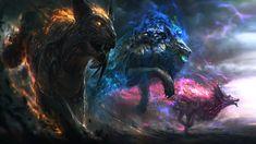 Fantaisie Créature  Dieux Fantaisie Lion Loup Tigre Fond d'écran