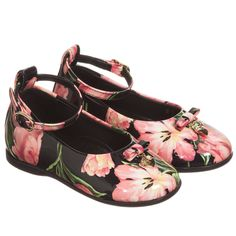 Dolce & Gabbana - Girls Black & Pink Tulip Print Patent Leather Shoes | Childrensalon