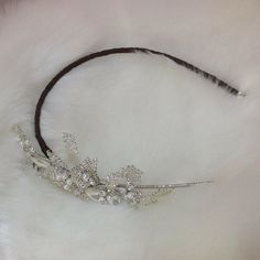 This beautiful bespoke handcrafted headpiece was made for a bride who required a dark band to colour-match her hair.  #LesleyCutlerbridal #bridaljewellery #bridaljewelry #bespokejewellery