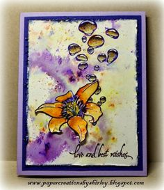 Paper Creations by Shirley: First Play with Brushos using Designs by Ryn: Day Lily and Rising Bubbles (stamps)