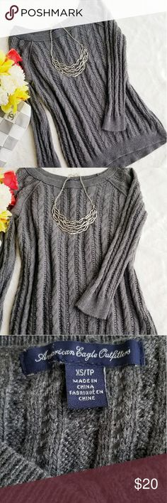American Eagle Gray Sweater Boat neck.Gently worn. Excellent condition. Size XS but can fit Small too.   %55 Cotton %15 Acrylic %15 Naylon %5 Wool American Eagle Outfitters Sweaters
