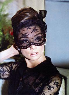 Audrey Hepburn lace, icon, fashion, audrey hepburn, masks, audreyhepburn, diamond earrings, beauti, black