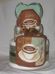 Bridal Shower Towel Cake   Cafe Latte Kitchen Towel Cake   Flickr - Photo Sharing!