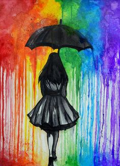 water color drippy art, black ink, girl in rain  under umbrella Catching up on a rainy day