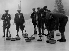 First Winter Olympics, curling The British Curling team during the Winter Olympics at Chamonix, France 1924