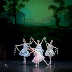 Vaganova graduates Nika Tskhvitariya, Renata Shakirova, Anastasia Lukina, Ksenya Kulikova in The Awakening of Flora Pas de Quatre.