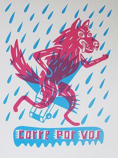 """revistapost:    sin título by juli y manu on Flickr.  A través de Flickr: """"corre por vos"""" ilustración de Guille Muñozwww.mutto.com.ar/ 2 tintas 35 x 50cm edición: 15 copias"""