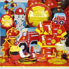 Plates, cups etc for a fire engine fire person party.