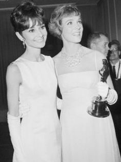 Audrey Hepburn and Julie Andrews with Oscar 1965. My favorite movies were Mary Poppins and Breakfast at Tiffany's