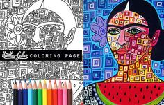 60% Off Today- Frida Kahlo coloring page art, Mexican Folk Art coloring book, adult coloring book, coloring pages, adult coloring pages: