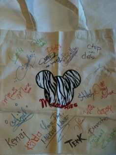 Personalized Disney autograph tote...so neat! Put child's name on it and have characters autograph it instead of a book.  What a great keepsake!
