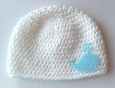 cute! Baby Hat for Boy Crochet White Beanie with Whale by inamood, $15.00