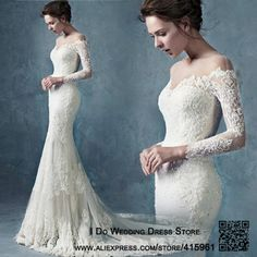 Vestido De Noiva Sereia Vintage Spitze Meerjungfrau Hochzeitskleid Langarm Sexy Brautkleider Kapelle Zug China W4031